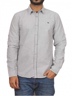 Grey Plain Casual Shirt