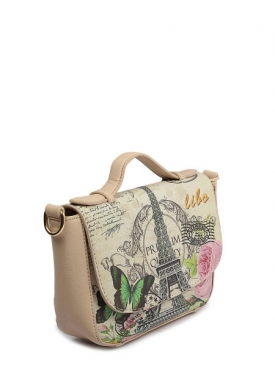 Printed Clutch Bag Beige